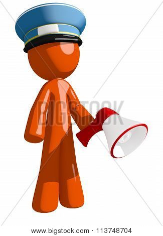Orange Man Postal Mail Worker Holding Megaphone And Standing