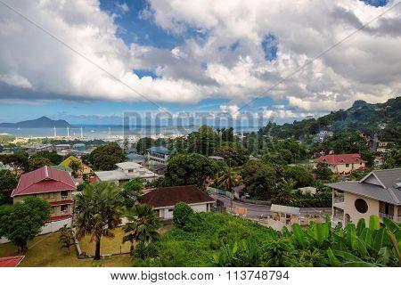Aerial view of Mahe coastline, Victoria, Seychelles