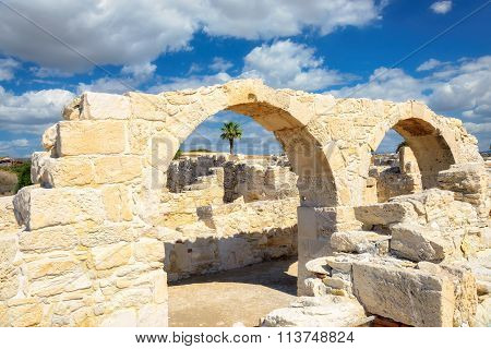Ancient Greek arches against the sea, Kourion near Limassol, Cyprus