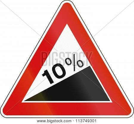 Road Sign Used In Italy - Steep Ascent
