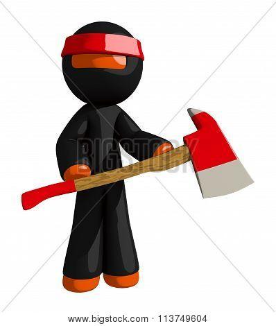 Orange Man Ninja Warrior Holding Ax
