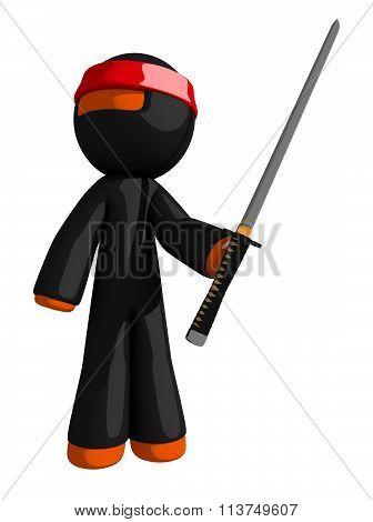 Orange Man Ninja Warrior Posing With Katana Or Sword