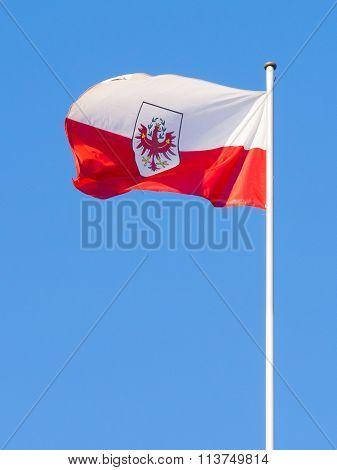 Tirol Flag On Blue Sky