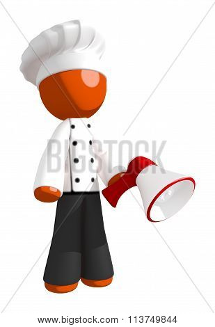 Orange Man Chef Posing With Bullhorn Or Megaphone