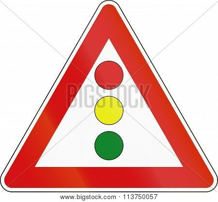 Road Sign Used In Italy - Vertical Signal Lights Ahead