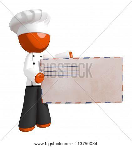 Orange Man Chef Presenting Giant Mail Letter Envelope