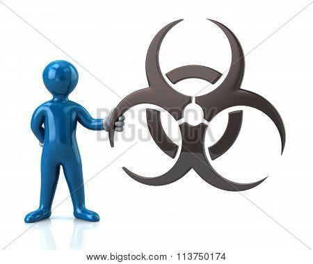 Blue Man Character Holding Biohazard Symbol