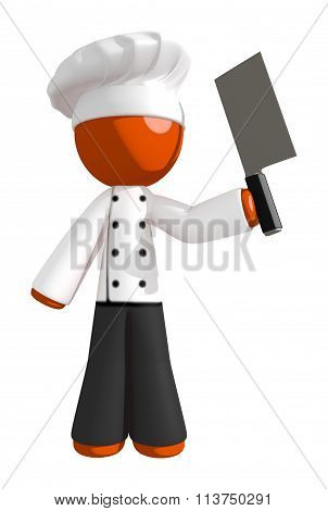 Orange Man Chef With Cleaver Knife