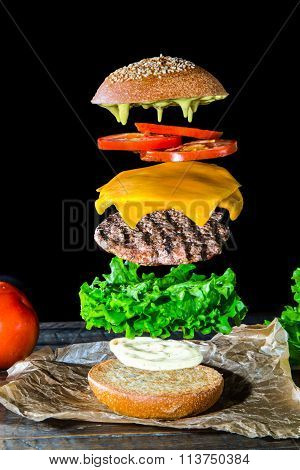 Burger Disassembled In Layers.