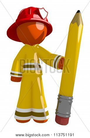Orange Man Firefighter Holding Giant Pencil