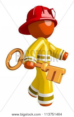 Orange Man Firefighter Walking With Huge Key