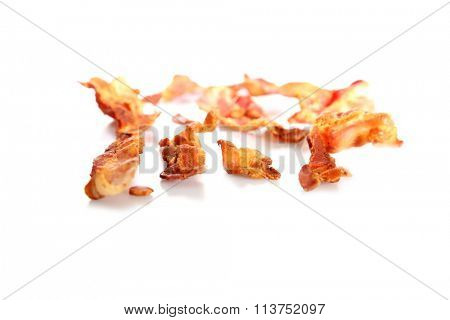 Bacon. Isolated on white with room for your text. Bacon is also known as Meat Candy and is Loved by people around the world for its delicate flavors.