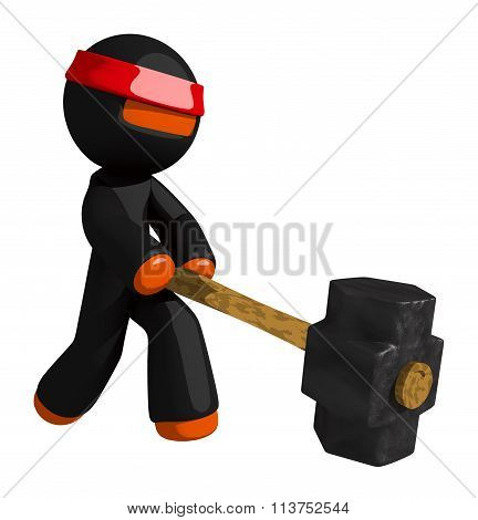 Orange Man Ninja Warrior Using Giant Sledge Hammer