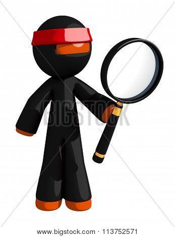 Orange Man Ninja Warrior Looking Through Giant Magnifying Glass