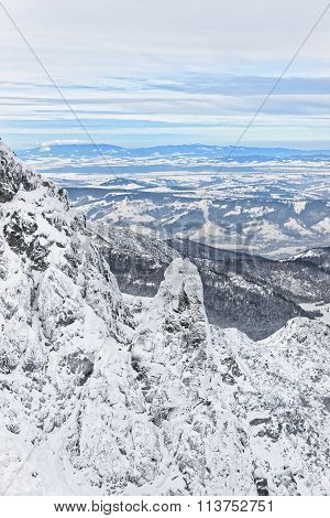 Panoramic View From Kasprowy Wierch  In Zakopane Of Tatra Mounts In Winter