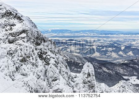 Panoramic View From Kasprowy Wierch In Zakopane In Tatra Mounts In Winter
