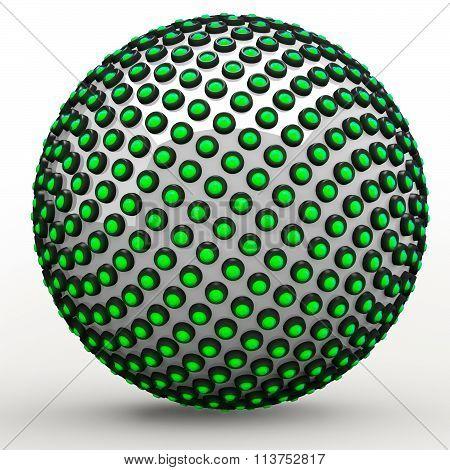 Green 3D Orb Sphere Golden Ratio Fibonacci Sequence Concept