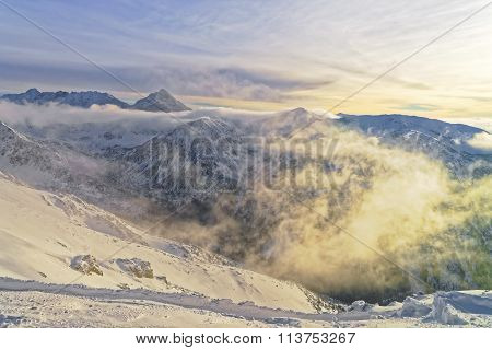 Sun And Fog In Kasprowy Wierch In Zakopane In Tatra Mounts In Winter