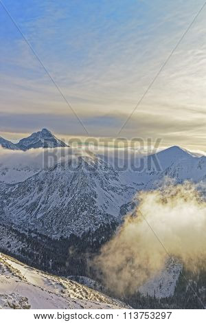 Sun And Fog On Kasprowy Wierch In Zakopane In Tatra Mounts In Winter