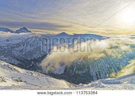Sunset At The Kasprowy Wierch In Zakopane In Tatra Mounts In Winter Time