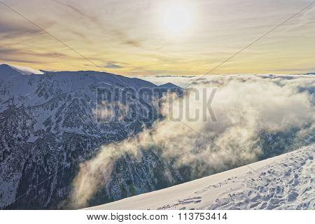 Sunset In The Kasprowy Wierch In Zakopane In Tatra Mounts In Winter