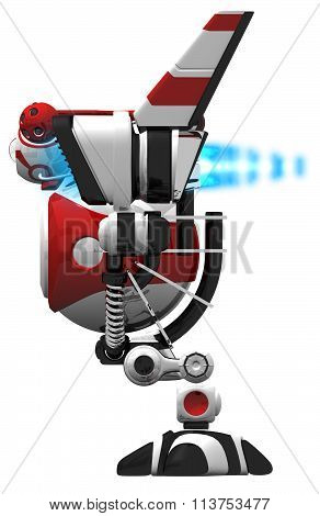 Robot With Jets, Front View Orthographic.