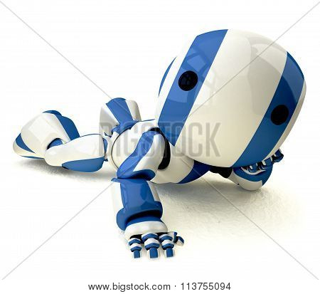 Glossy Blue Robot Reclined