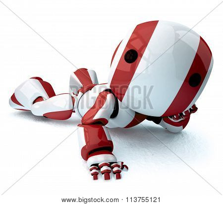 Glossy Red Robot Recined
