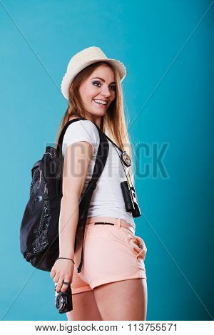 Tourist Woman With Backpack Side View