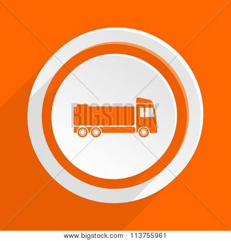 truck orange flat design modern icon for web and mobile app