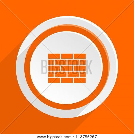 firewall orange flat design modern icon for web and mobile app