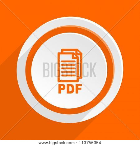 pdf orange flat design modern icon for web and mobile app,