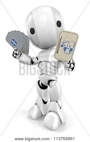 Robot Holding Joker Card