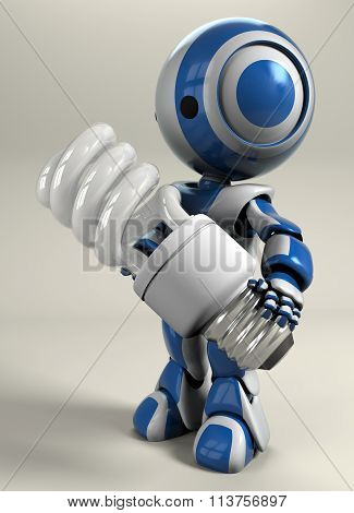 Blue Robot Holding Compact Light Bulb