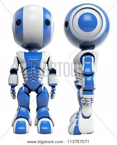 Blue Robot Mug Shot Side And Front View