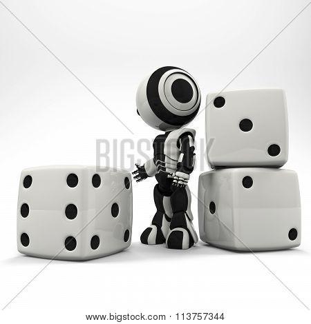 Robot Presenting Oversized Dice