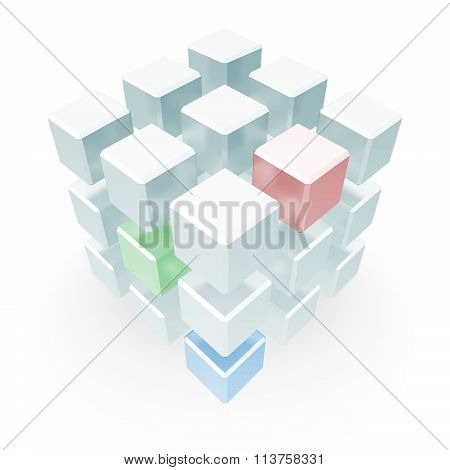 Abstract Cube Array Red Blue Green