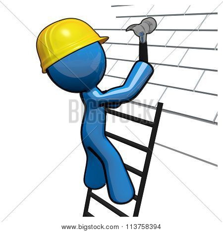 3D Blue Man Working On Roof, Roofer Professional