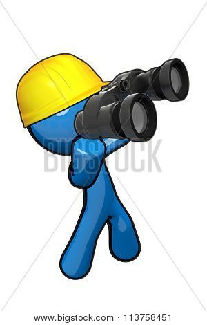 3D Blue Man Searching With Hard Hat And Binoculars.