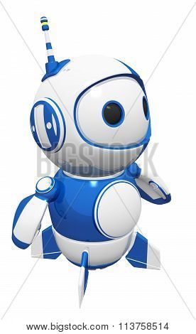 3D Cute Blue Robot Posed And Ready
