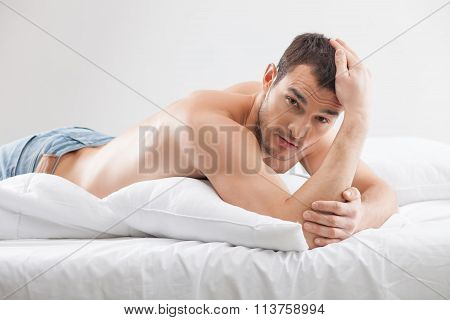 Attractive fit guy is expressing his desire