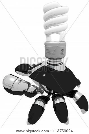 Idea Generator Robot With Light Bulb Side View