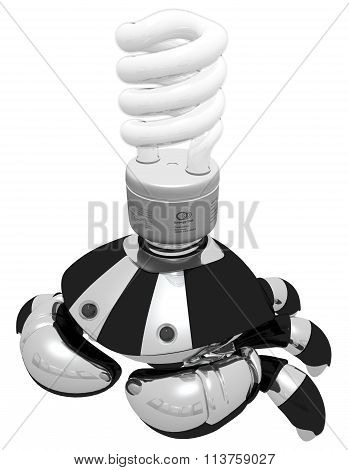Idea Generator Robot With Light Bulb Top Side View