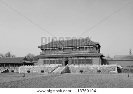 Historical architecture in Forbidden City in Beijing, China in black and white.