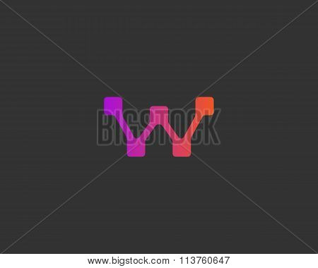 Abstract letter W logo design template. Colorful way point path creative sign. Vector shipping deliv