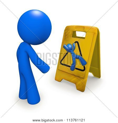 Safety Concept, Man Looking At Danger Sign