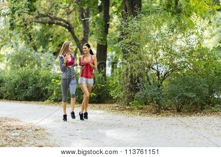Sportive Women Jogging In Park