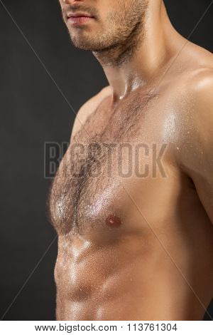 Handsome fit guy with sweaty sexy body