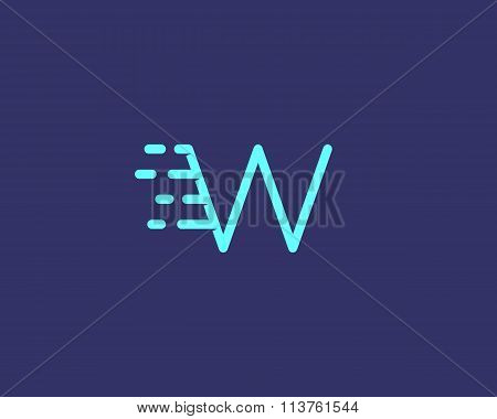 Abstract letter W logo design template.  Dynamic vector unusual line font. Universal fast speed fire