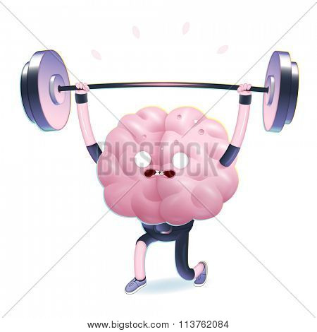 Train your brain series - the vector illustration of brains activity, weightlifting. Part of a Brain collection.